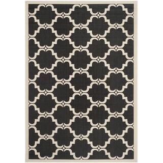 Safavieh Courtyard Moroccan Black/ Beige Indoor/ Outdoor Rug (5'3 x 7'7)