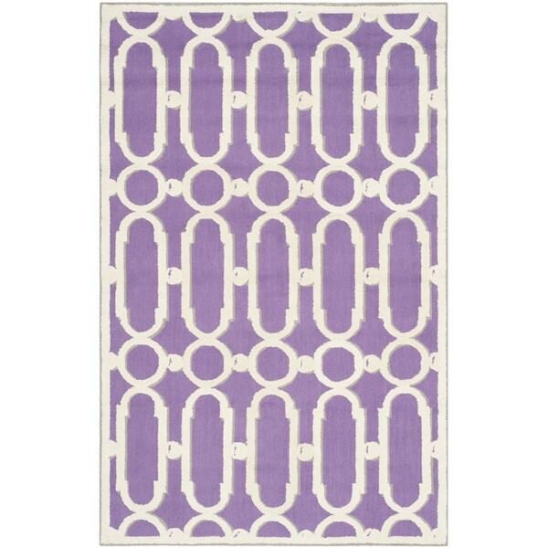 Safavieh Hand-hooked Newport Purple/ White Cotton Rug - 7'9 x 9'9