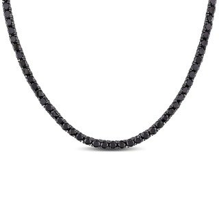 Miadora Sterling Silver Black Cubic Zirconia Necklace