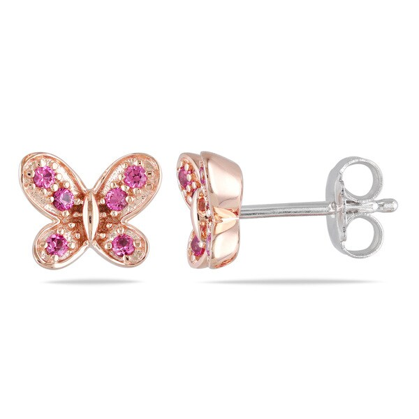 Miadora Sterling Silver Created Pink Sapphire Butterfly Earrings