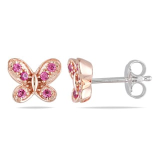 M by Miadora Sterling Silver Created Pink Sapphire Butterfly Earrings