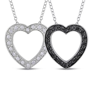 Miadora Sterling Silver 2-pc Set of 1/4ct Black and White Diamond Heart Necklace