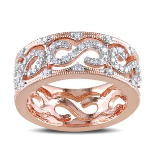 Miadora Rose Plated Silver 1/4ct TDW Diamond Ring