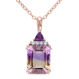 Miadora Rose Plated Silver Ametrine, Amethyst and Diamond Necklace