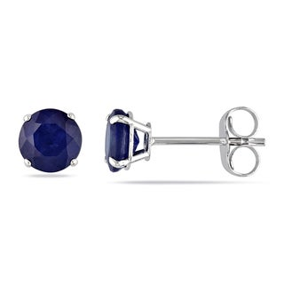 Miadora 14k White Gold 1 1/5ct TGW Sapphire Stud Earrings