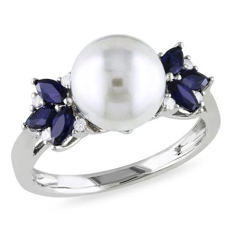 Miadora 10k White Gold Cultured Freshwater Pearl, Diamond and Sapphire Ring (9-9.5 mm)