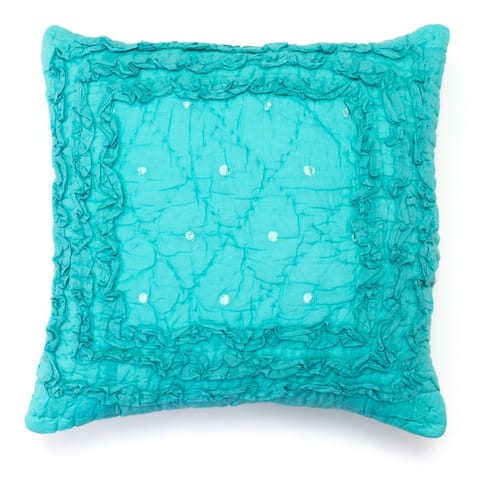 Cottage Home Pretty Teal Ruffled Throw Pillow