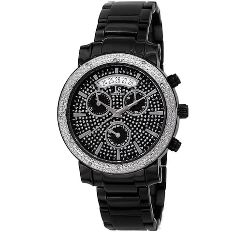 Joshua & Sons Women's Diamond Chronograph Stainless Steel Black Watch