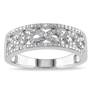 Miadora Sterling Silver 1/10ct TDW Diamond Infinity Ring (H-I, I2-I3)