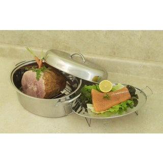 Excel Steel 23-pound All-in-One Stainless High Dome Roaster and Fish Poacher