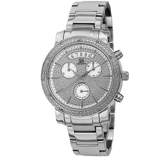 Joshua & Sons Women's Diamond Chronograph Stainless Steel Silver-Tone Watch