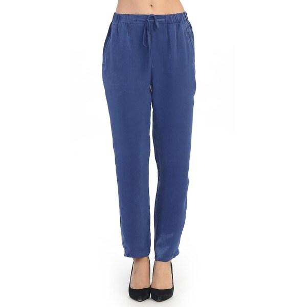 Hadari Women's Contemporary Blue Casual Drawstring Pants