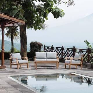 Marina 4 Piece Outdoor Patio Teak Sofa Set