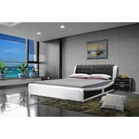 Faux Leather Black and White Platform Bed