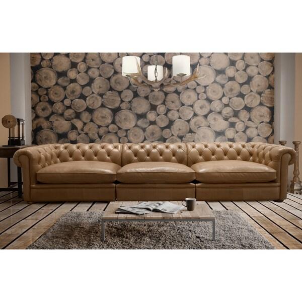 Abraham 142-Inch 3-Piece Aurora Honey Leather Sofa Set - Free