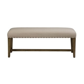 Weatherford Grey Upholstered Nailhead Dining Bench