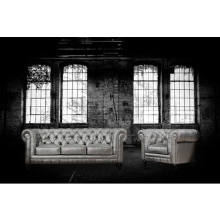 Zahara Silver Leather Living Room Set