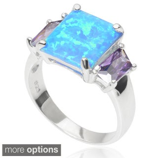 Sterling Silver Created Opal Cubic Zirconia Three Stone Ring