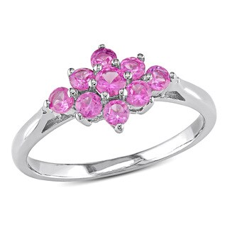 Miadora Sterling Silver Created Pink Sapphire Ring