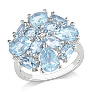 Miadora Sterling Silver 6ct TGW Sky Blue and White Topaz Ring
