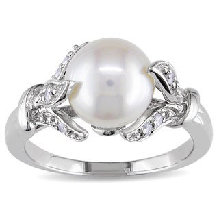 Miadora Sterling Silver Freshwater Pearl and 1/10ct TDW Diamond Ring (H-I, I2-I3) (4 options available)