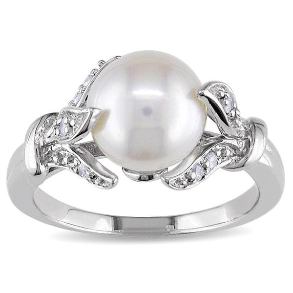 Miadora Sterling Silver Freshwater Pearl and 1/10ct TDW Diamond Ring (H-I, I2-I3). Opens flyout.