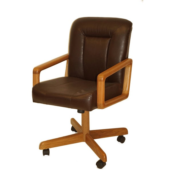 solid wood rolling caster chair with tilt and bonded leather cushion