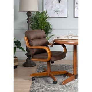 Brown Solid Wood Rolling Caster Dining Chair with Tilt and Cushion Seat