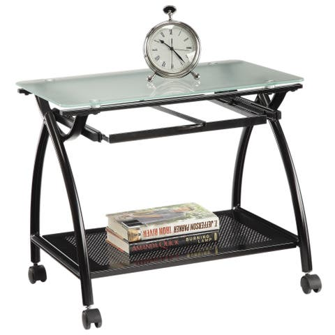 OSP Home Furnishings Mobile Tempered Glass Top File Cart