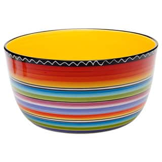 Hand-painted Tequila Sunrise 10.75-inch Deep Bowl|https://ak1.ostkcdn.com/images/products/9071709/Hand-painted-Tequila-Sunrise-10.75-inch-Deep-Bowl-P16264256.jpg?impolicy=medium