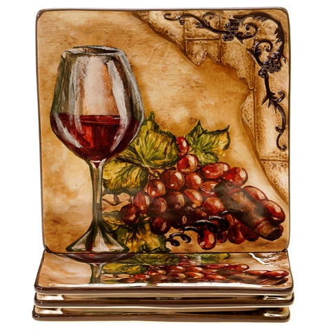 Certified International 4-piece Hand-painted Tuscan View 8.5-inch Ceramic Salad/Dessert Plate Set