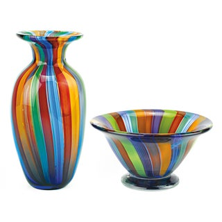 Badash Rainbow Collection Murano Style Vase and Bowl Set