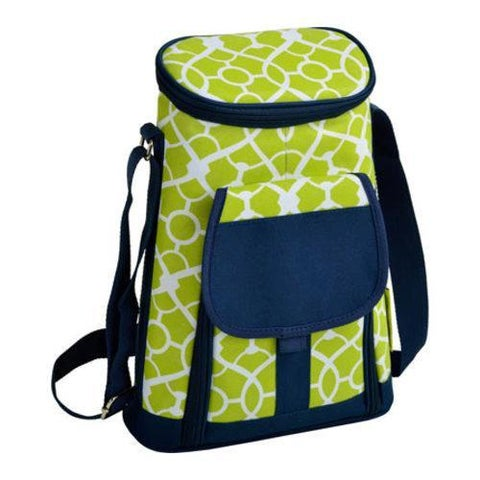Picnic at Ascot Two Bottle Carrier and Cheese Set Trellis Green