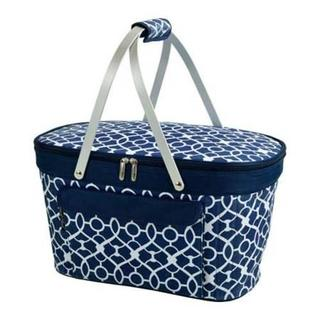Picnic at Ascot Blue and White Trellis Collapsible Insulated Fabric Basket