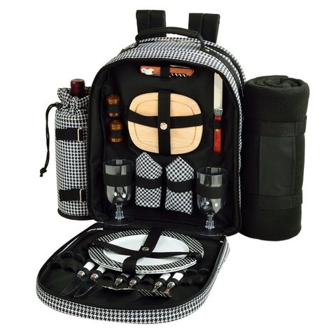 Picnic at Ascot Picnic Backpack for Two with Blanket - Houndstooth