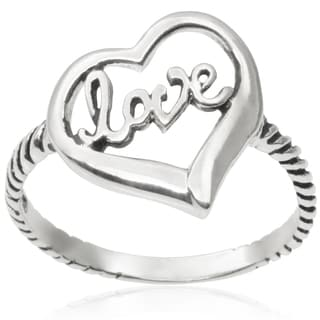 Journee Collection Sterling Silver Love Ring