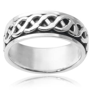 Vance Co. Men's Sterling Silver Spinner Band|https://ak1.ostkcdn.com/images/products/9074362/Vance-Co.-Mens-Sterling-Silver-Spinner-Band-P16266492.jpg?impolicy=medium