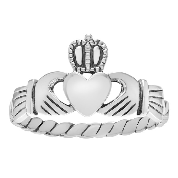 Sterling Silver Celtic Claddagh Ring - White