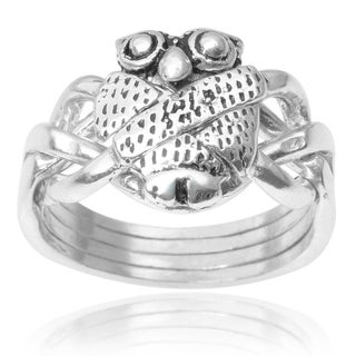 Journee Collection Sterling Silver Owl Puzzle Ring