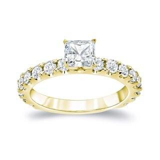 Auriya 14k Gold 1 1/2ct TDW Princess Diamond Engagement Ring (H-I, SI1-SI2)