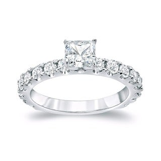 Auriya 14k Gold 1 1/2ct TDW Princess-cut Diamond Engagement Ring