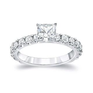 Auriya 14k Gold 1 3/4ct TDW Certified Princess Diamond Engagement Ring