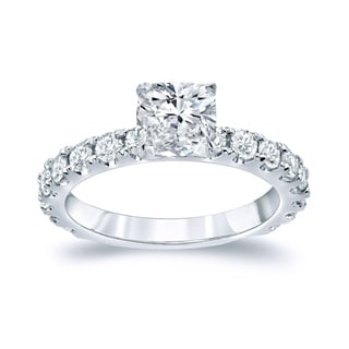 Auriya 14k Gold 2ct TDW Certified Cushion Diamond Engagement Ring (H-I, SI1-SI2)