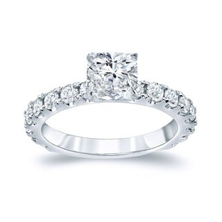 Auriya 14k Gold 2ct TDW Certified Cushion-cut Diamond Solitaire Engagement Ring