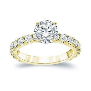 Auriya 14k Gold 2 1/2ct TDW Certified Round Diamond Engagement Ring