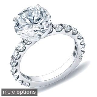 Auriya 14k Gold 2ct TDW Certified Round Diamond Engagement Ring (H-I, SI1-SI2)