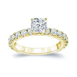 Auriya 14k Gold 1 3/4ct TDW Certified Cushion Diamond Engagement Ring (H-I, SI1-SI2)