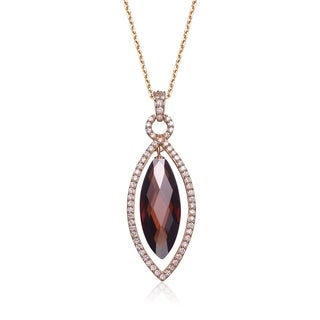Collette Z Rose-plated Sterling Silver Coffee Cubic Zirconia Pear Shape Necklace