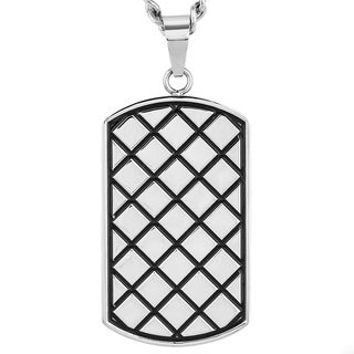 Crucible Stainless Steel Diamond Pattern Textured Dog Tag Pendant Necklace