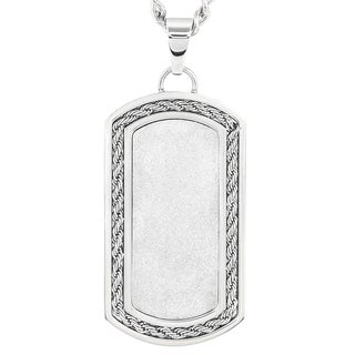 Crucible Stainless Steel Sandblasted and Rope Inlay Dog Tag Pendant